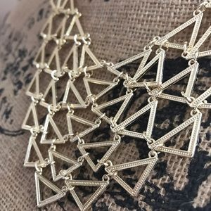 New York & Company Gold Triangle Bib Necklace